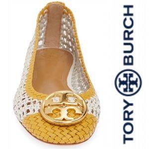 Tory Burch Chelsea Woven Ballet Flat Ivory/Daylily